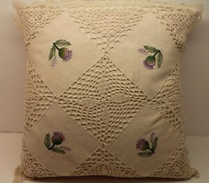 New-4-PACK-Crochet-Knit-Cushion-Cover-Cream-Green-Cotton-Handmade-Lace-Floral