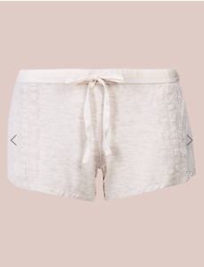 M /& S ROSIE FOR AUTOGRAPH OATMEAL TEXTURED LACE TRIM PYJAMA SHORTS