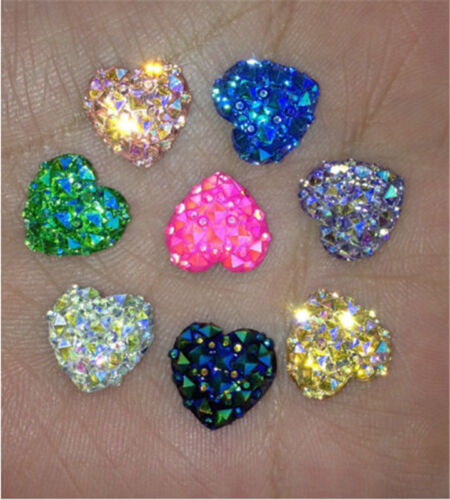 NEW 100PCS AB Resin Heart flatback Scrapbooking for phone//wedding// many Color
