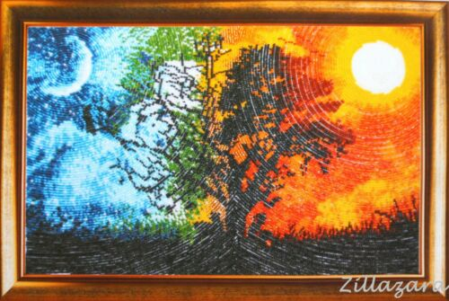 Día y noche naturaleza Stick envase Stick imagen stickset bordar perlas en el círculo 171