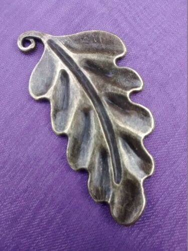 4 x LARGE 3D BRONZE OAK LEAF 48mm x 24mm Charm Pendant Pagan Wiccan