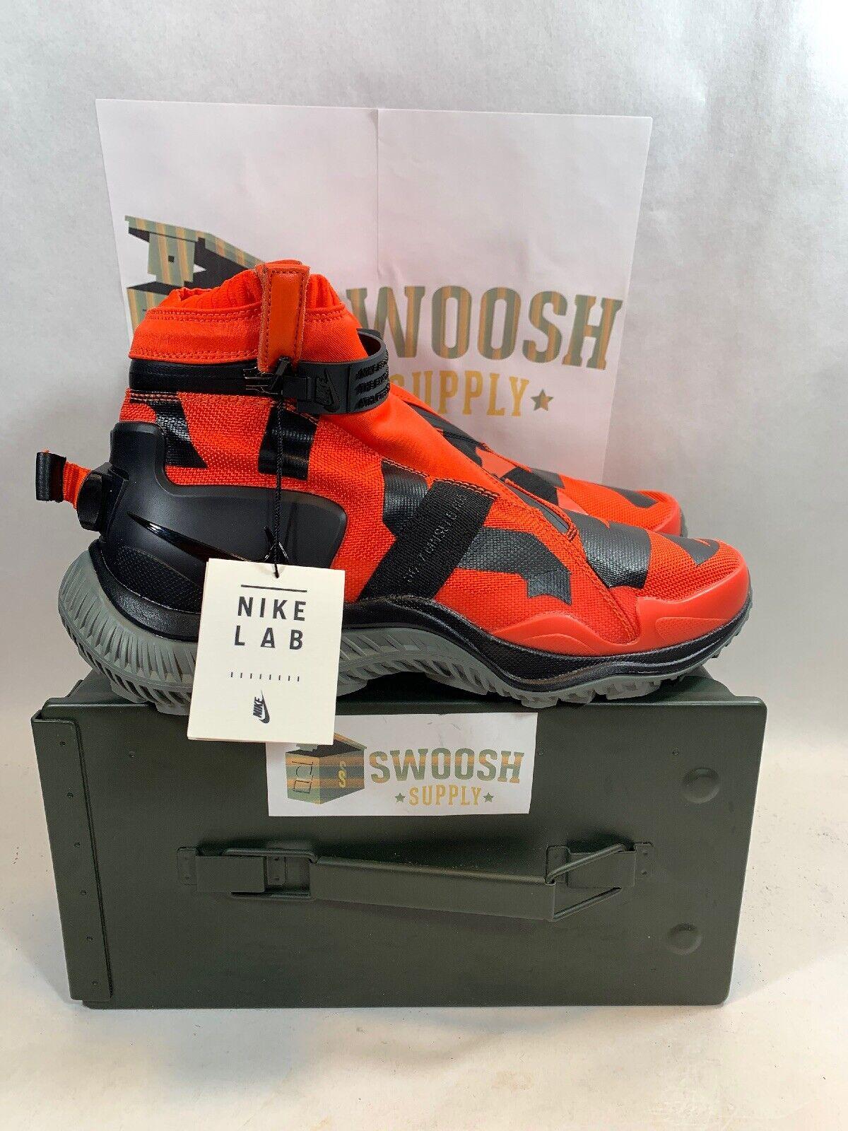 Nike NSW Gaiter Boot NikeLab Mens 9.5 Team orange Black Tumbled Grey AA0530-800
