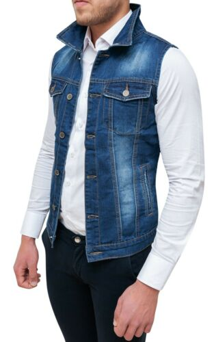 Sans Manches Jeans Diamond Veste Gilet Cardigan Bleu Slim Fit Moulant