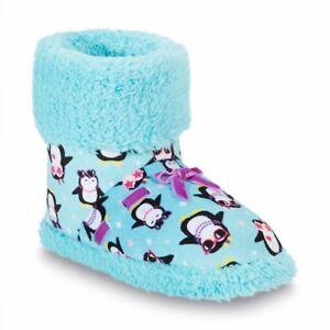 NWT Girls' Slippers Aqua Blue Booties Boots Penguins Purple Ribbon  L 1/2 XL 3/4