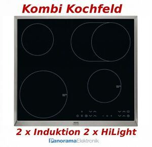 kombi kochfeld aeg hk634150xb autark 2 x induktion 2 x glaskeramik kochfeld neu ebay. Black Bedroom Furniture Sets. Home Design Ideas