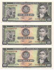 Three Cien Soles Banco Central De Peru Banknotes--Pristine Condition!!