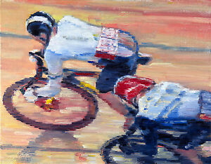 Olympic-Cycling-Figures-oil-painting-Impressionist-Realism-artist-Portrait