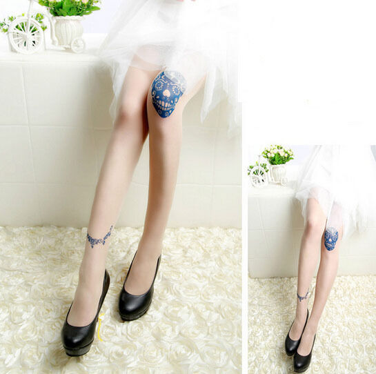 Fashion Slim Thin Tattoos Sexy Women Splice Temptation Tight Pantyhose Stockings