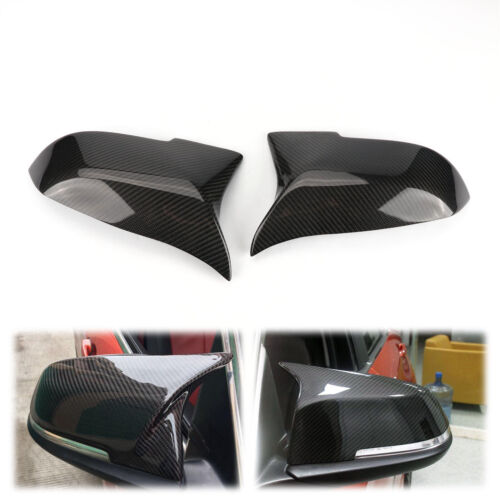 Pair Real Carbon Fiber Side Mirror Cover Cap Replace For BMW F30 F31 3-Series