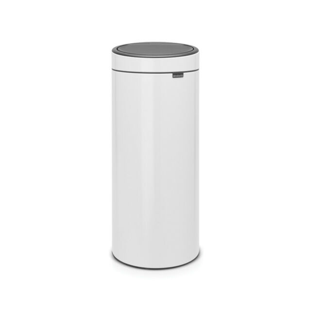 Brabantia Touch Bin Flat Top 30 Liter Platinum.Brabantia Flat Top Touch Bin 30l White For Sale Ebay
