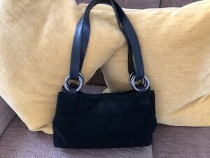 Russel-amp-Bromley-black-suede-and-leather-bag-excellent-condition