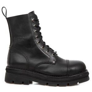 Hole Boots Unisex Black Biker Gothic S14 Rock Military Mili 8 New Shoes 083 qvSFwH