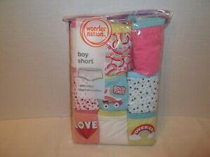 2a4f11e8583 Wonder Nation Girls 9 Pack Boy Shorts Underwear-12 OR 14-Print-Solid ...