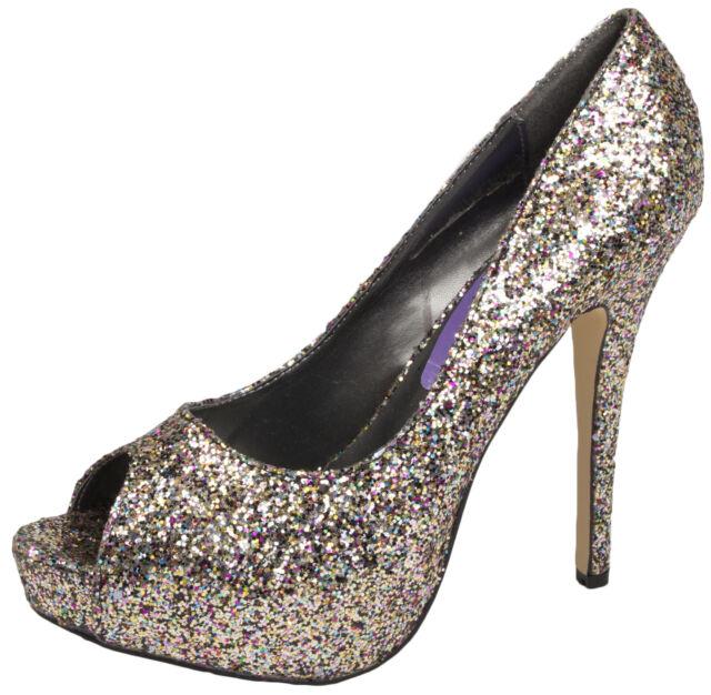 bbba1428f0e Womens Glitter High HEELS Peeptoe Stiletto Platforms Ladies Party Shoes  Size Glitter Euro 40 UK 7