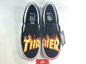 Details about NEW! Vans x Thrasher Slip On Black Skate Shoes Mens Womens Black Flames Fire