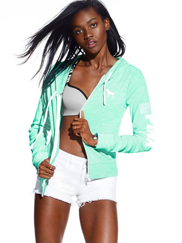 Victoria's Victoria's Victoria's Secret Pink Beach Jersey Full-Zip Hoodie (XSmall) 1af214
