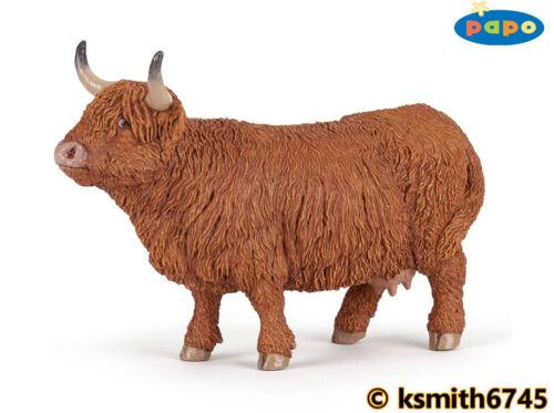 nouveau Papo Highland Vache solide Jouet en plastique Ferme Pet Animal Marron bovins