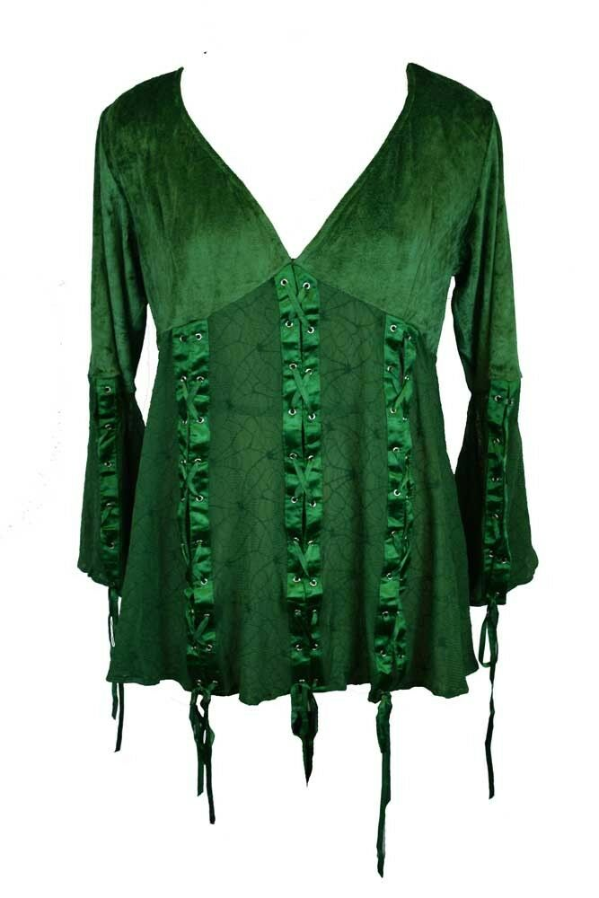 Dark Star Blouse Green Lace  And Poly Silk Material. Size 12
