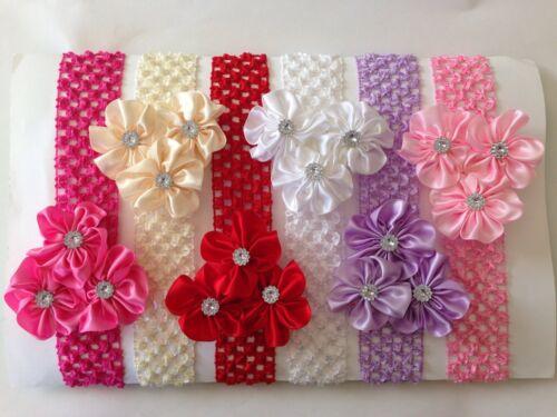 6 Pcs Set Baby Girl Flower Crochet Headband Hair Bow. Cute!!!!