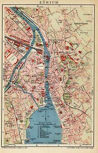 Cartina Zurigo.1892 Zurigo Zurich Svizzera Antica Mappa Topografica Old Map Ebay