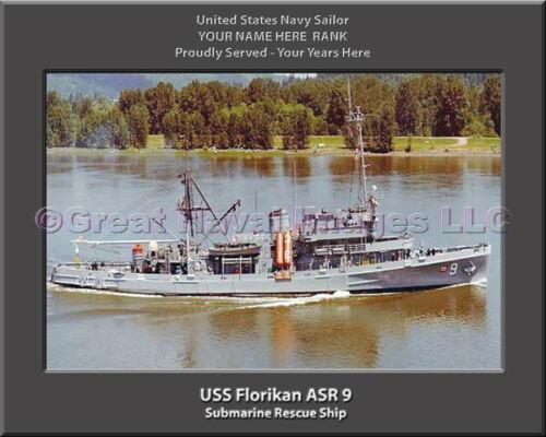 USS Florikan ASR 9 Personalized Canvas Ship Photo Print Navy Veteran Gift