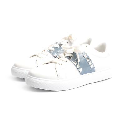 Sneakers donna scarpe da ginnastica stringate con borchie Blu Beige   eBay