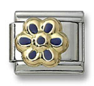 Authentic-18k-Gold-Italian-Charm-Enamel-Blue-Flower-9mm-Modular-Link-Bracelet