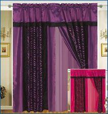 A Pair of Faux Silk and flocking Purple Black Zebra Printing Window Curtains Dra