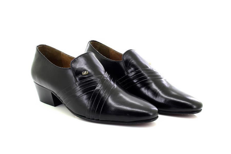 Mens Lucini Black On Leather Smart Formal Slip On Black Cuban Heel Shoes 26544 f1b80f