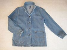 NEW GAP Denim Coat Jean Jacket Blazer w/ Rust Top Stitching Teen XL 12 or S Lady