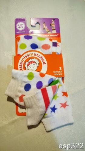 pack of 3 NWT Little Mismatched ankle socks 6-8 or 9-11 mismate Colorful fun