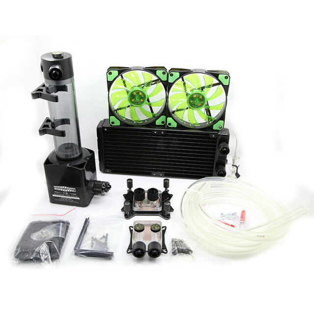 Water Cooling Kit 240mm Radiator 190mm Reservoir Pump CPU GPU Blocks Green LED