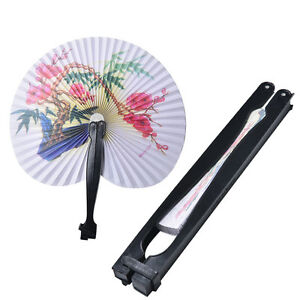 2x-Paper-Chinese-Oriental-Folding-Hand-Held-Fans-Ideal-Size-For-Handbags-MWUK