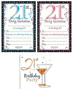 Image Is Loading AGE 21 21st BIRTHDAY Party Invitations Amp Envelopes