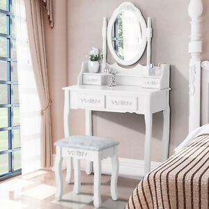 Image Is Loading White Vanity Makeup Dressing Table Set With Stool