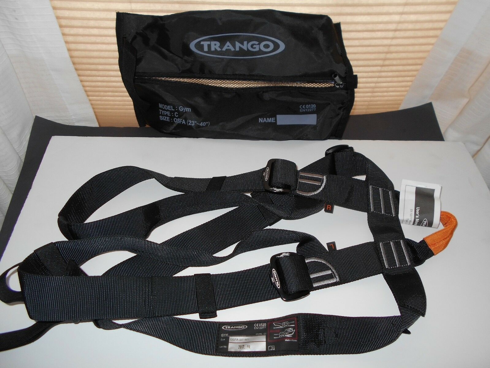 TRANGO GYM Type C SIT HARNESS EN12277, (ONE FITS ALL 23 -40 ), NEW with bag.
