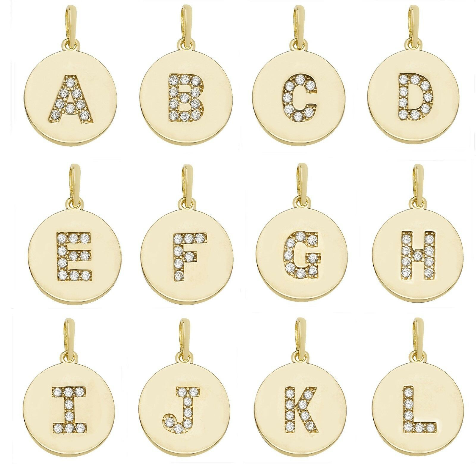 9ct Yellow gold CZ Initial 13mm Disc Pendants - A to Z available - Gift Boxed