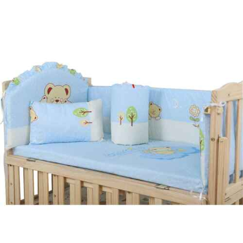5PCs Baby Crib Bumper cartoon Comfy Cotton Infant Toddler Bed Cot Protector