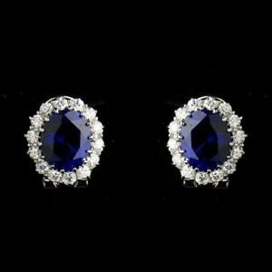 1-50CT-Oval-Cut-Blue-Sapphire-amp-Diamond-Halo-Stud-Earrings-In-9K-White-Gold-Over