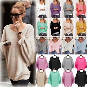 88d0ce060 Women Batwing Long Sleeve Loose Knitted Sweater Casual Jumper Tops ...