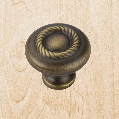 "Mushroom Cabinet Hardware Rope Knobs kzu17 Brushed Antique Brass 1-1//4/"" Round"