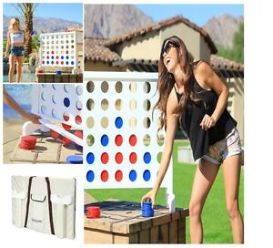 Giant Connect Four 4 in a row 100% Wooden Play Yard Home Game Kids Adults Board