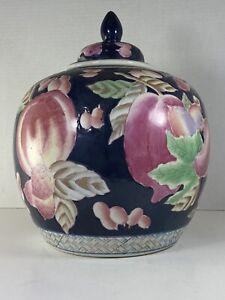 Large-11-x-9-Vintage-Pastel-Flower-Chinese-Porcelain-Ginger-Jar-w-Lid-Flawless