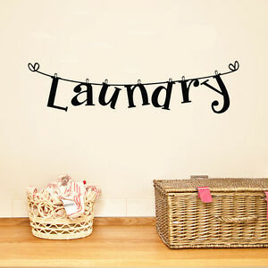 1pc letter laundry room wall sticker removable washhouse