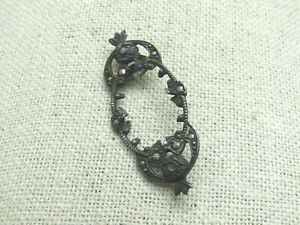 Vintage-Sterling-Marcasite-Cameo-Brooch-Setting-1-75-034-3-69-gr-1920-039-s-1930-039-s