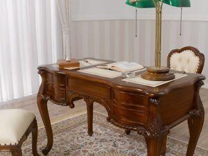 Bureau-Secretaire-Diana-style-Chippendale-ministeriel-cm-180-bois-noyer-eco-cuir