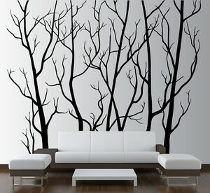 Large wall art decor vinyl tree forest decal sticker for Big tree with bird wall decal deco art sticker mural