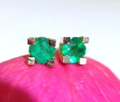 New A Vivid Colombian Emerald 5.5mm 14k Yellow Gold Stud Earrings