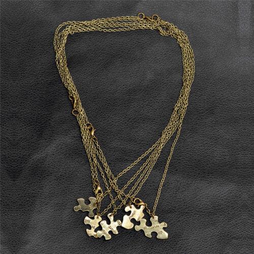 5PCS//1Set Interlocking Jigsaw Puzzle Pendant Necklace Best Friends FriendshipSN