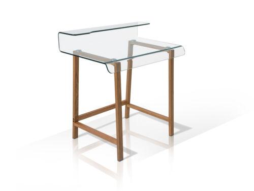 Millar Schreibtisch Design klar Glas 85x55 Computertisch Eiche Massivholz Holz